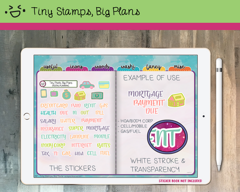 Digital Stickers - Digital stickers - payment icon and word stickers - pastel - Tiny Stamps Big Plans