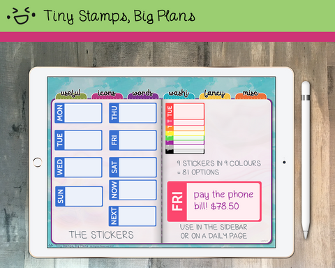 Digital Stickers - Digital stickers - rainbow boxes with weekdays - Tiny Stamps Big Plans