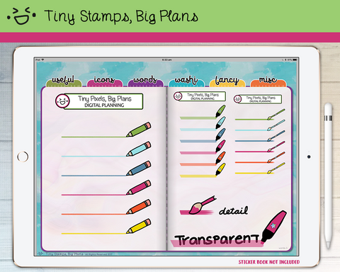 Digital Stickers - Digital stickers - rainbow art supplies - Tiny Stamps Big Plans