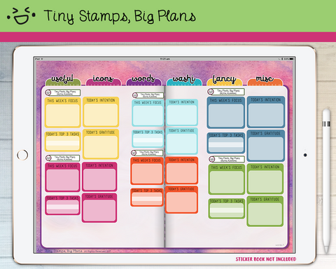 Digital Stickers - Digital stickers - rainbow goals and intentions - Tiny Stamps Big Plans