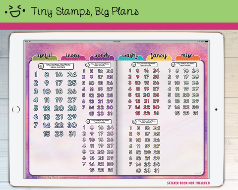 Digital Stickers - Digital stickers - holo numbers 1 - Tiny Stamps Big Plans