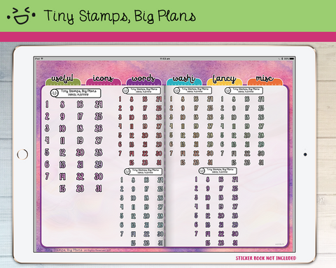 Digital Stickers - Digital stickers - holo numbers 2 - Tiny Stamps Big Plans