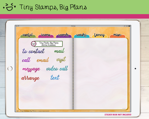 Digital Stickers - Digital stickers - watercolour words - contact - Tiny Stamps Big Plans