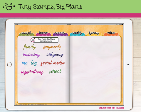 Digital Stickers - Digital stickers - watercolour words - titles 3 - Tiny Stamps Big Plans