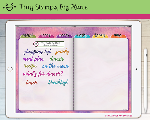 Digital Stickers - Digital stickers - watercolour words - food - Tiny Stamps Big Plans