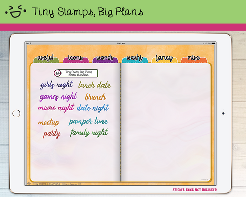 Digital Stickers - Digital stickers - watercolour words - events - Tiny Stamps Big Plans