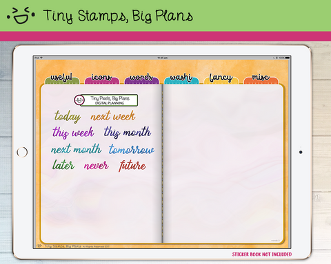 Digital Stickers - Digital stickers - watercolour words - times - Tiny Stamps Big Plans