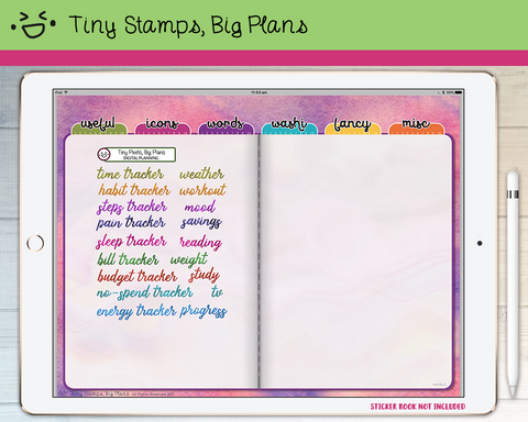 Digital Stickers - Digital stickers - watercolour words - tracking - Tiny Stamps Big Plans