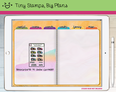 Digital Stickers - Digital stickers - sneaker and steps icons - Tiny Stamps Big Plans
