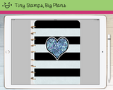Digital Planner - Digital covers for Goodnotes planners - black stripe with starry heart - Tiny Stamps Big Plans