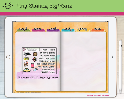 Digital Stickers - Digital stickers - travel icons and words - Tiny Stamps Big Plans