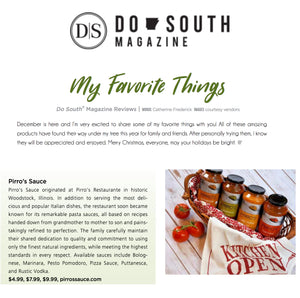 "Pirro's Sauce in Do South Magazine - ""My Favorite Things"""