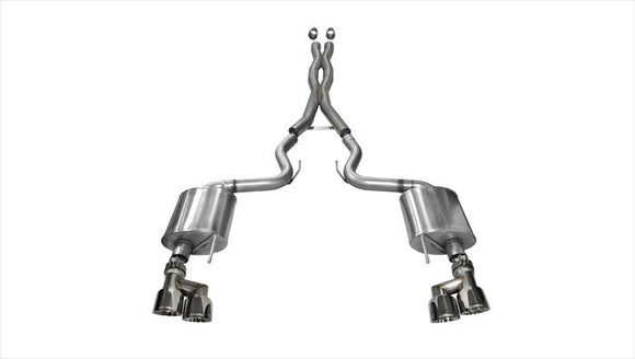 Corsa 15-16 Ford Mustang GT 5.0 3in Cat Back Exhaust Polish Quad Tips (Sport)