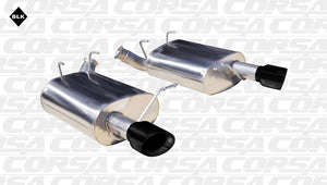 Corsa 11-13 Ford Mustang 3.7L V6 Black Sport Axle-Back Dual Rear Exhaust
