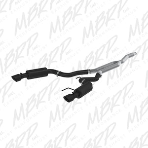 MBRP 15 Ford Mustang EcoBoost 2.3L Black 3in Cat Back Dual Split Rear Exit (Street Version)