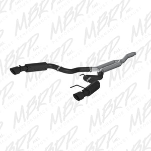 MBRP 15 Ford Mustang EcoBoost 2.3L Black 3in Cat Back Dual Split Rear Exit (Race Version)
