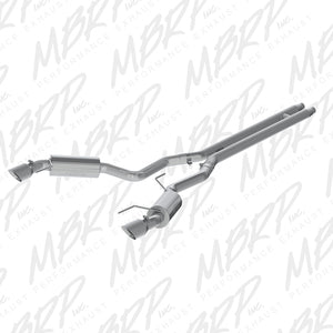 MBRP 15 Ford Mustang GT 5.0 3in Cat Back Dual Split Rear Street Version 4.5in Tips - Aluminized