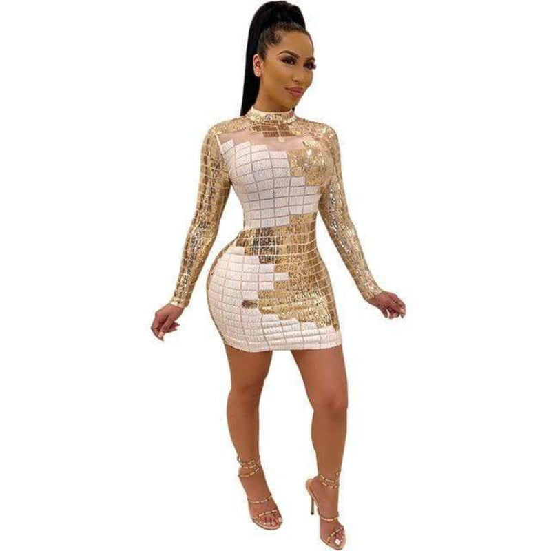 Epicplacess.com Dress White / L For The Love Of You Sequin Mini Dress