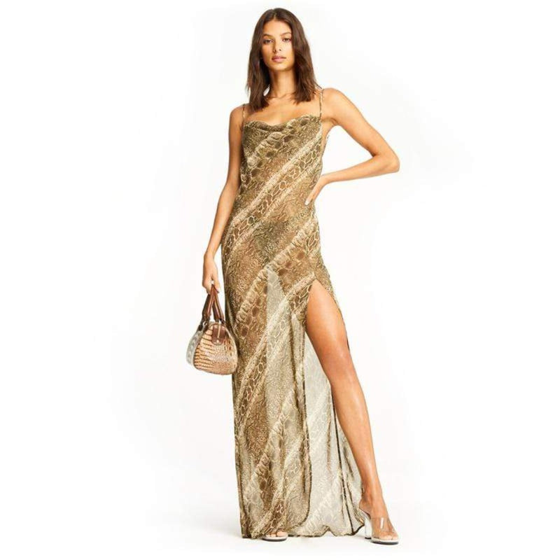 Epicplacess Dress Covered In Chains Mesh Maxi Dress - Green
