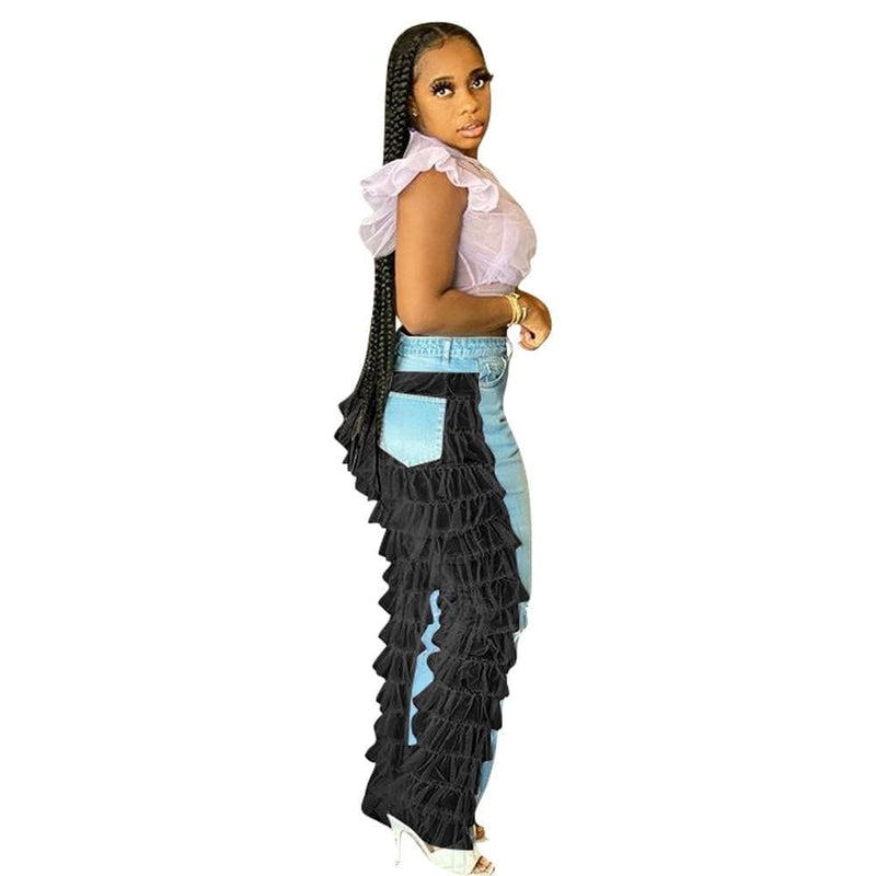 Epicplacess JEANS Ruffled Denim Jeans