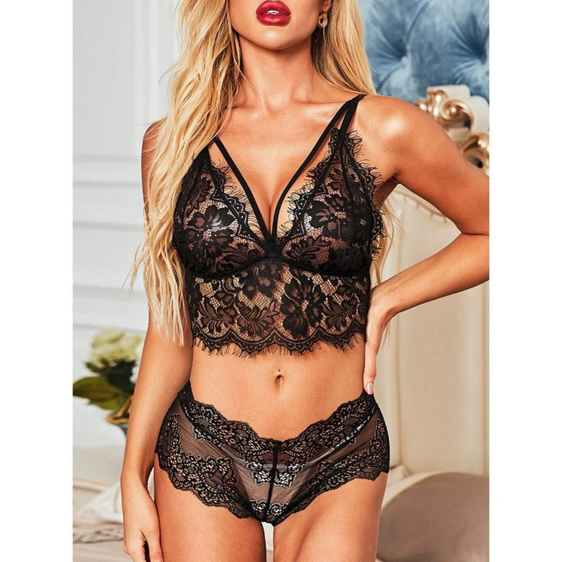Epicplacess Lingerie Careful With My Heart Lace See-through 2 Piece Set