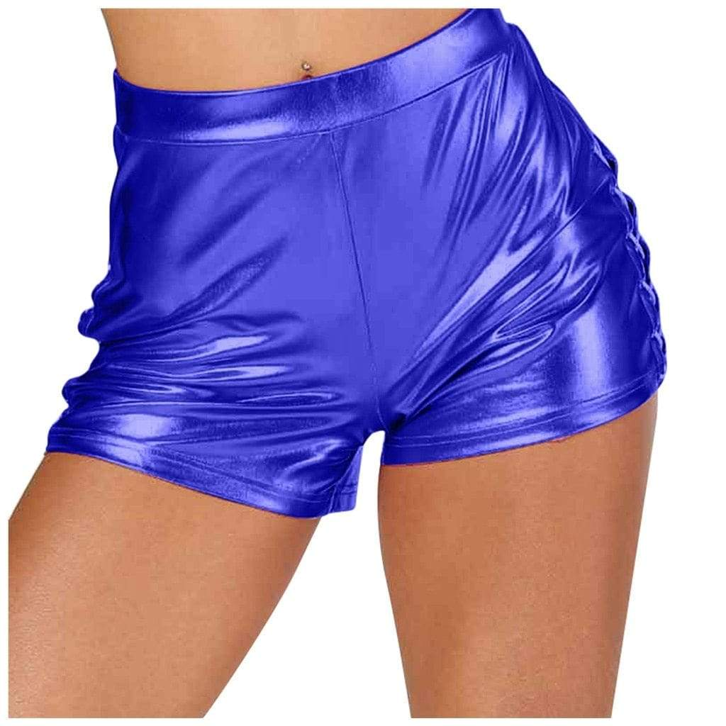 Epicplacess Shorts Blue / M / United States Play Fun Pu Leather Shorts - Silver,Blue,Pink,Gold