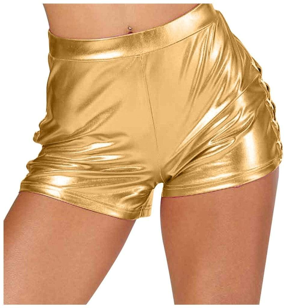 Epicplacess Shorts Gold / M / United States Play Fun Pu Leather Shorts - Silver,Blue,Pink,Gold