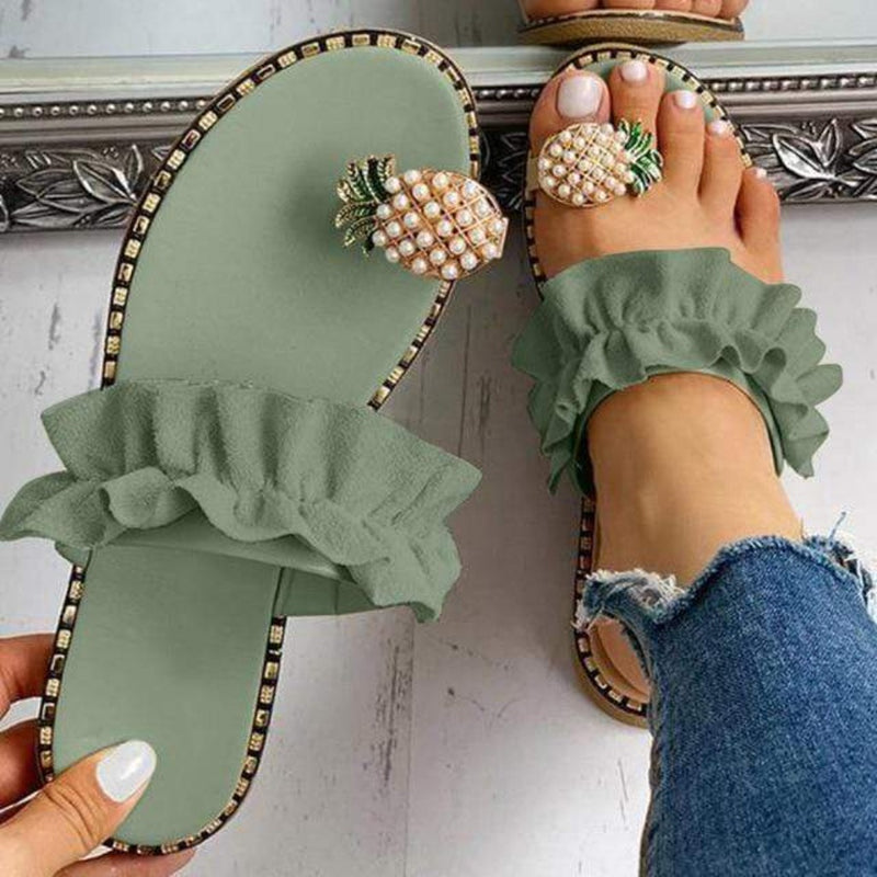 Epicplacess shose Green / 41 / United States Pineapple Pearl On Comfy Sandals