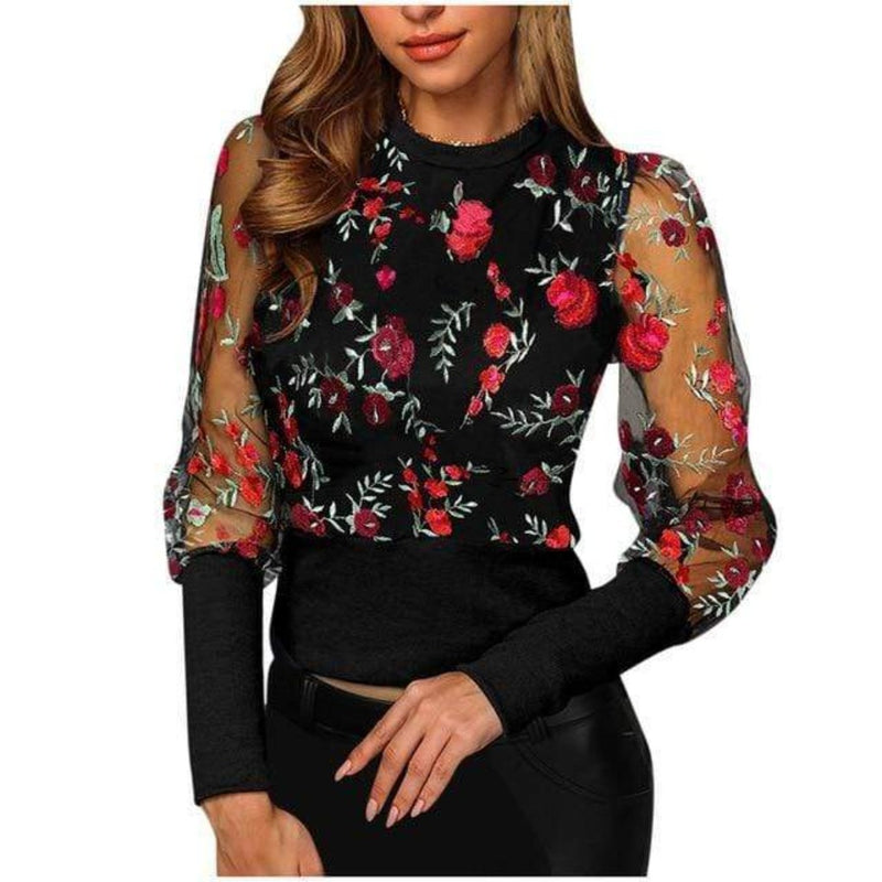 Epicplacess top Black / M / United States Just Kitten Around Floral Top