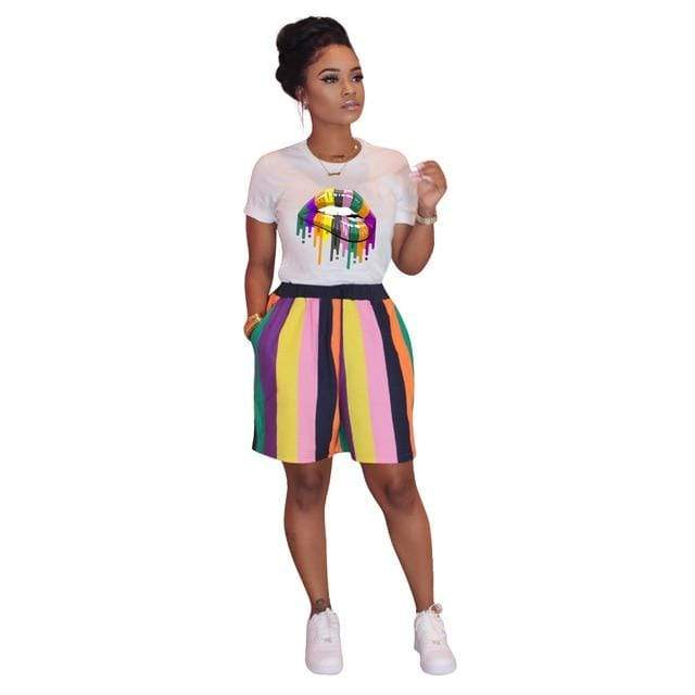 Epicplacess TRACKSUIT Black / S / United States Kiss Me Multicolored 2 Set T-Shirt And Pants Tracksuit