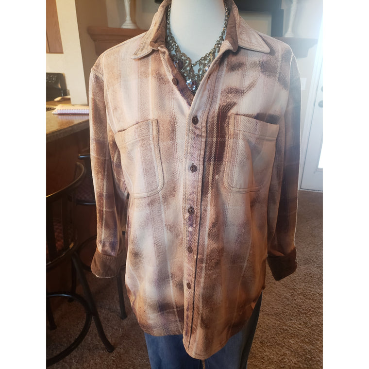 Bleached flannel shirt medium