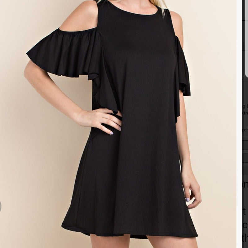 Black cold shoulder dress