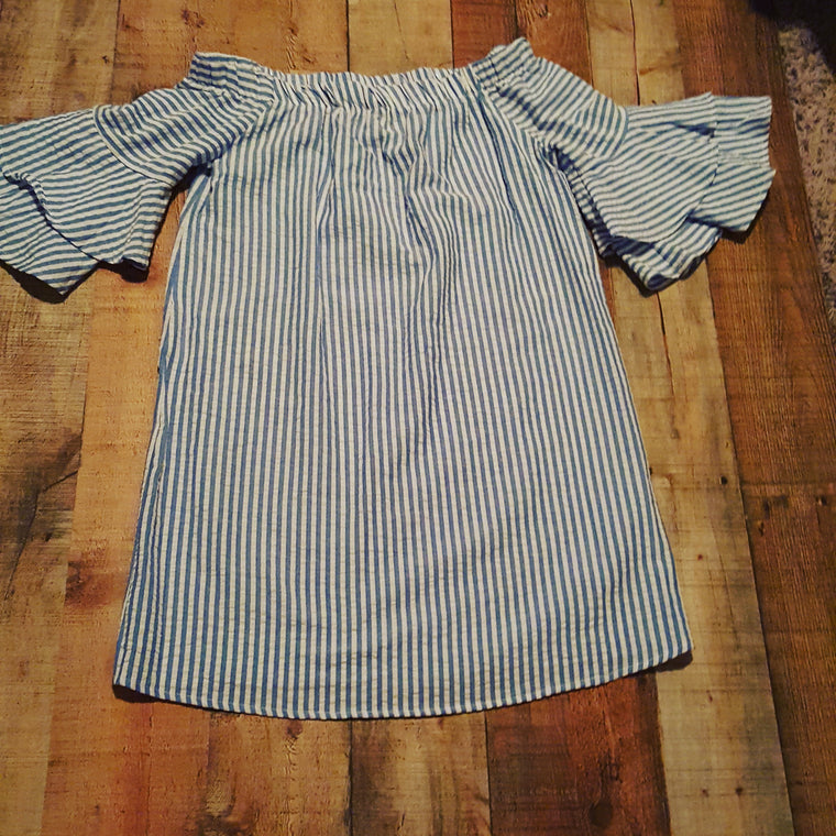 Blue & white striped Off Shoulders Dress