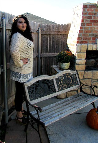 lace bottom plus size sweater