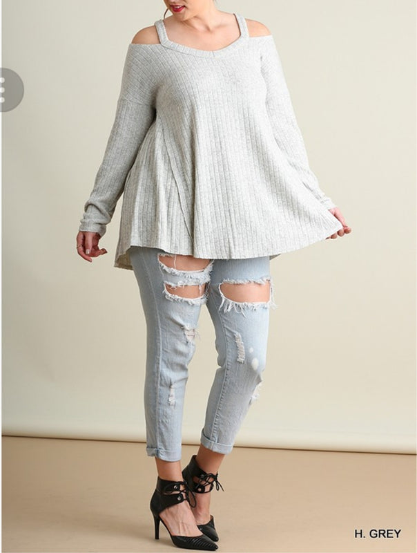 Plus size Off Shoulder Grey Sweater
