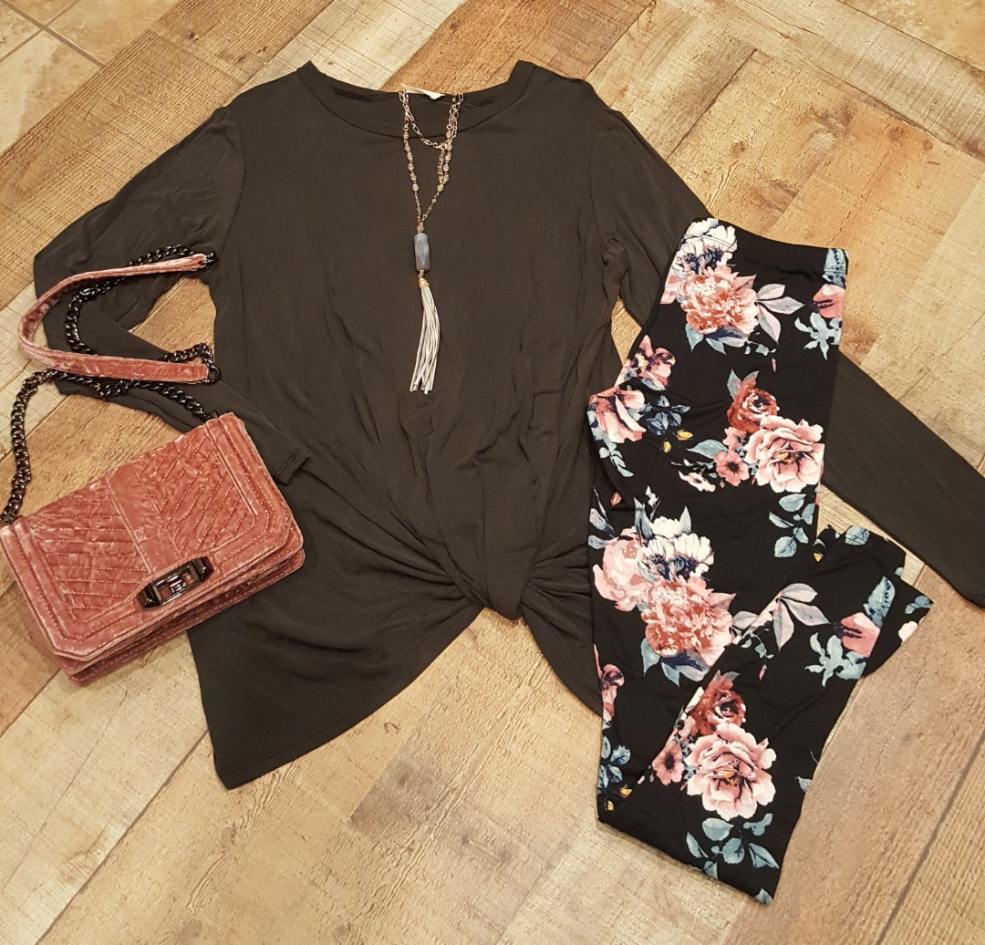 Black knotted tunic (floral leggings also available)