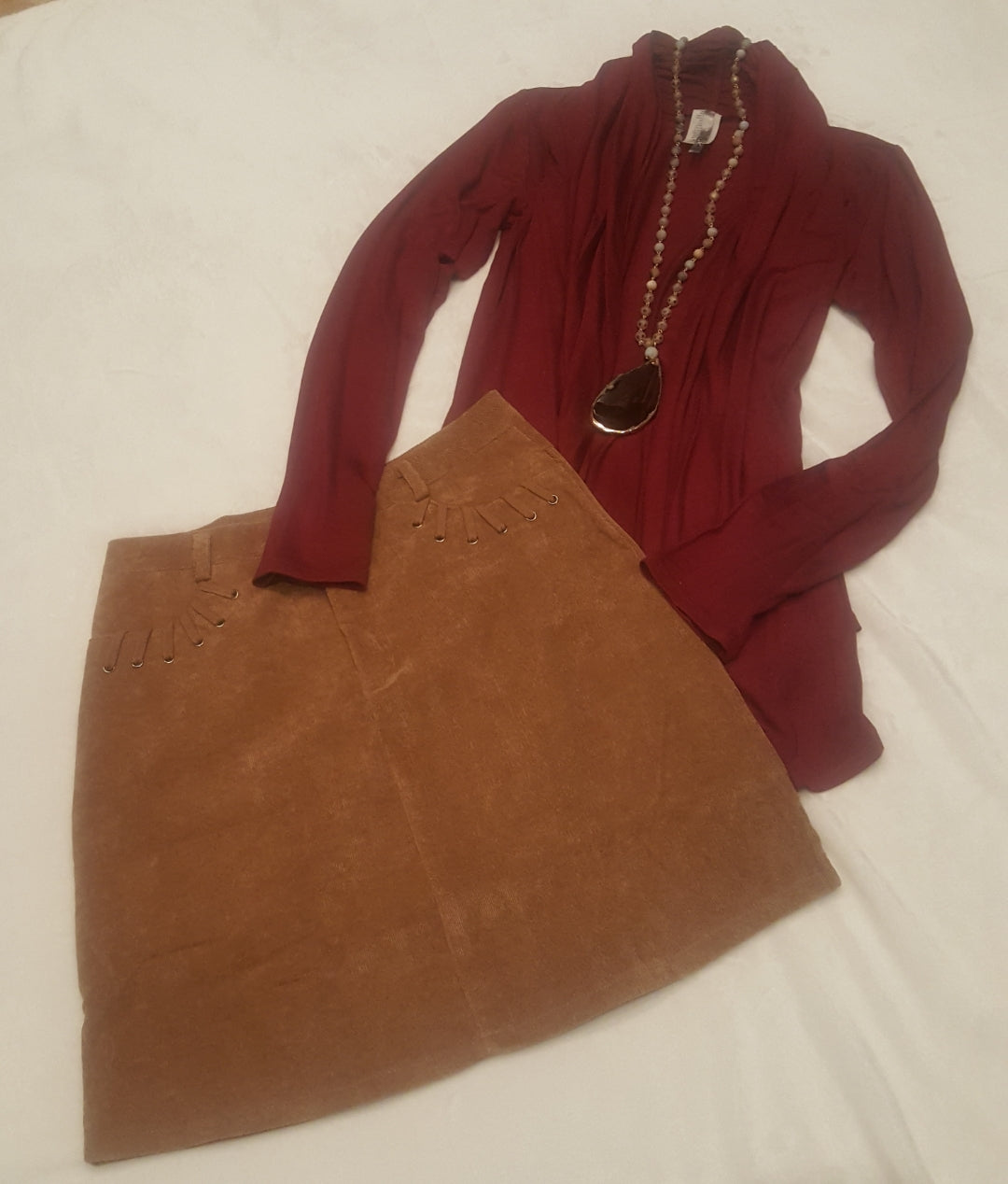 Burgundy draped cardigan
