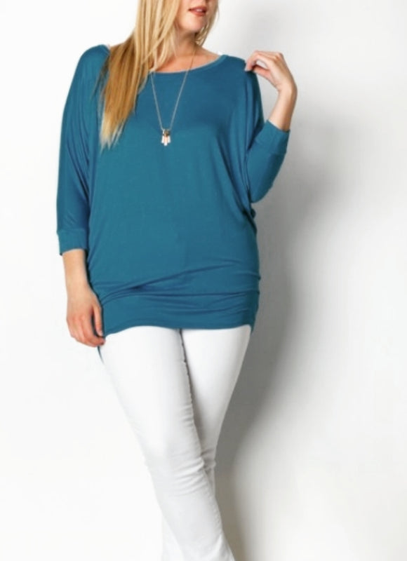Teal plus size top