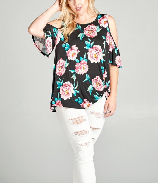 Black floral plus size top