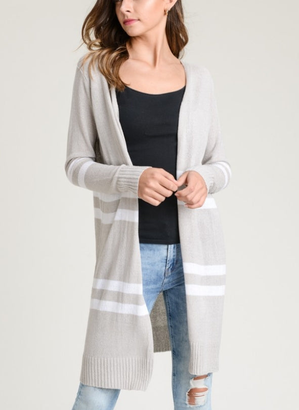 cool grey striped cardigan