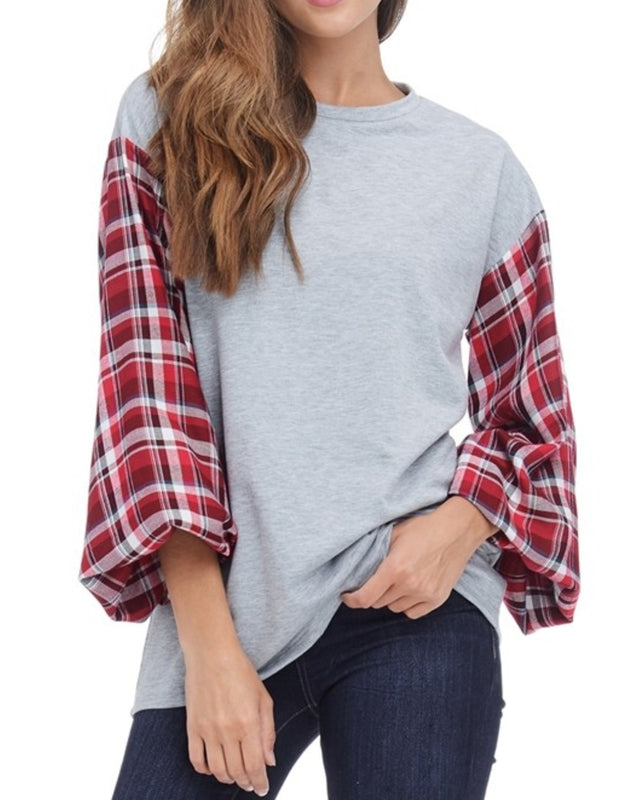 Plaid sleeve top