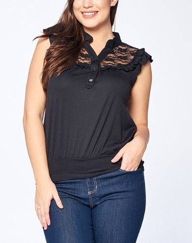 Plus size black lace top