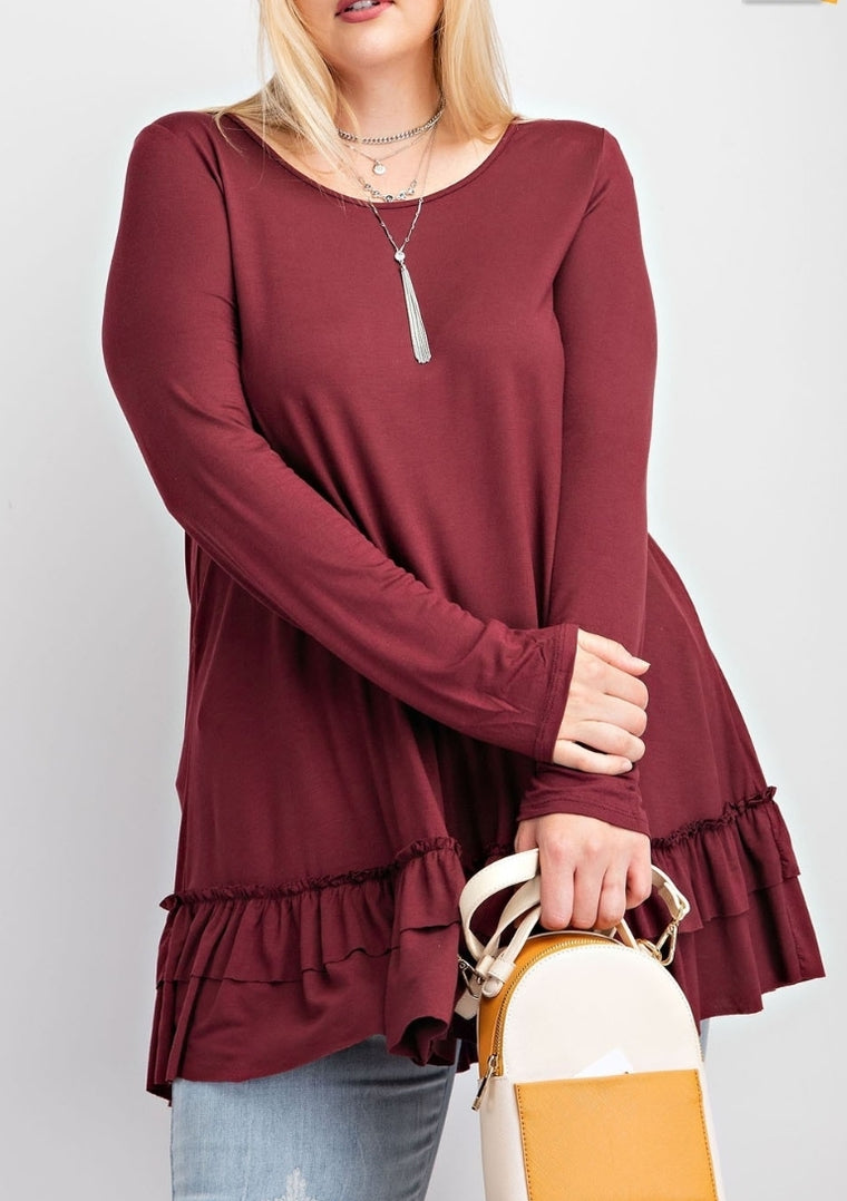 Plus size ruffled hem top