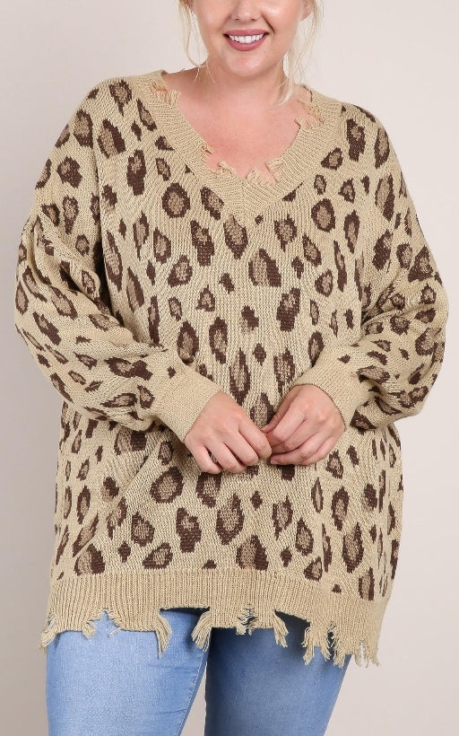 Distressed cheetah sweater plus size