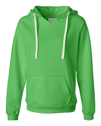Ladies V-Neck Hooded Sweatshirt