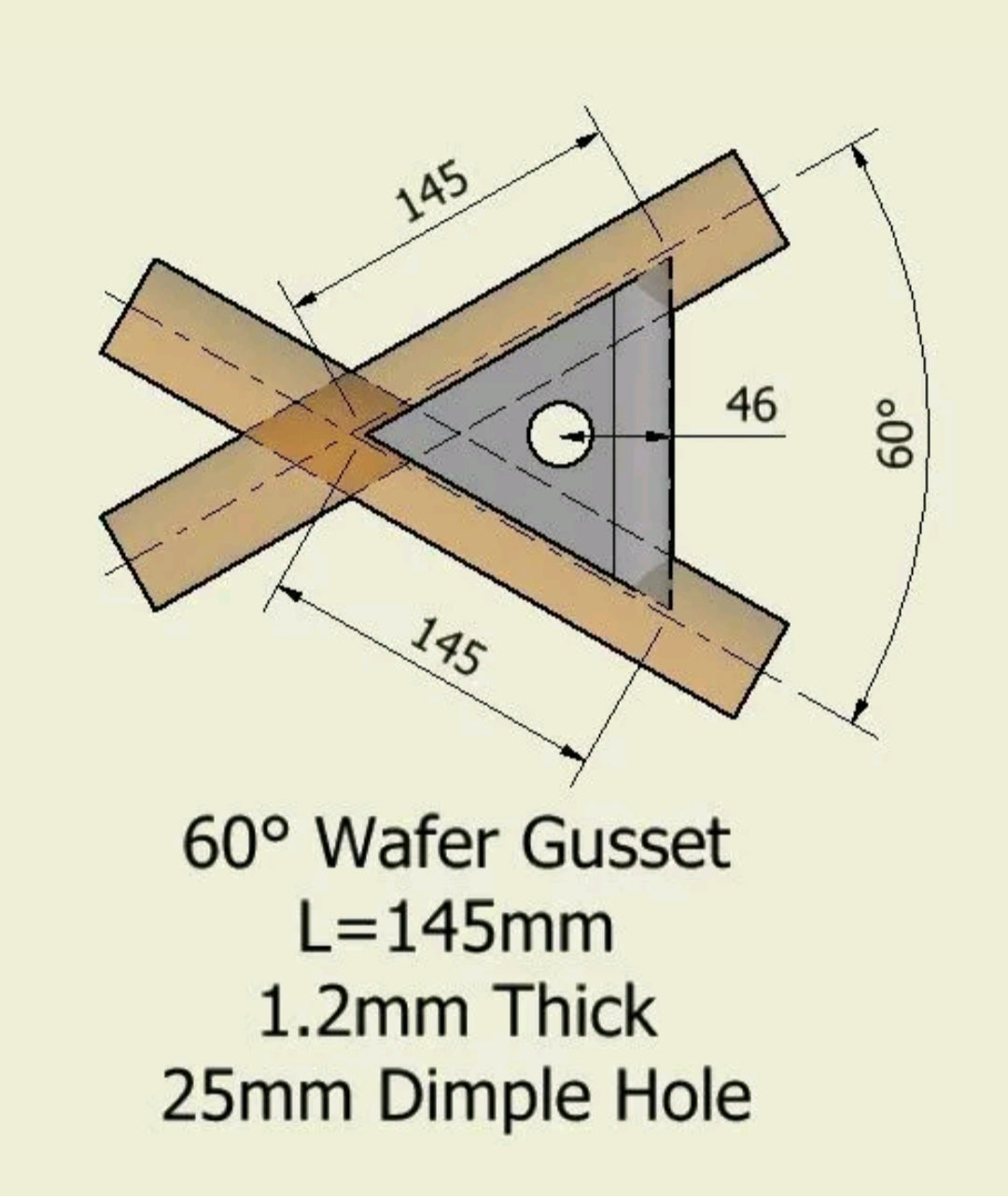 60 Deg Roll Cage Dimple Die Gusset - Wafer Type