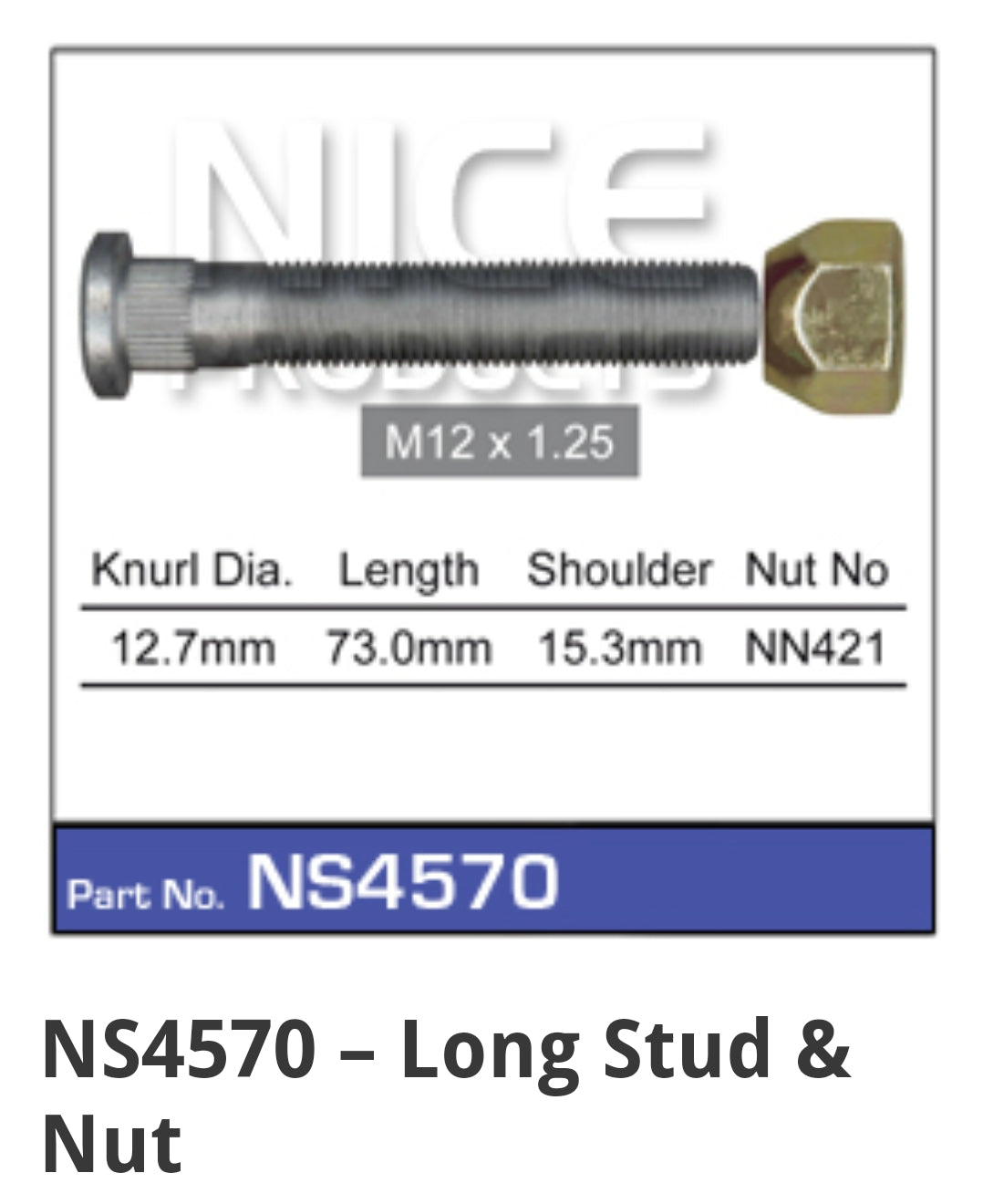 NS4570 extended wheel stud for Silvia and Skyline