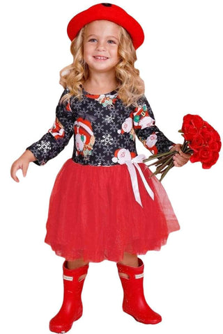 Black Red Santa Snowflack Print Christmas Toddler Dress