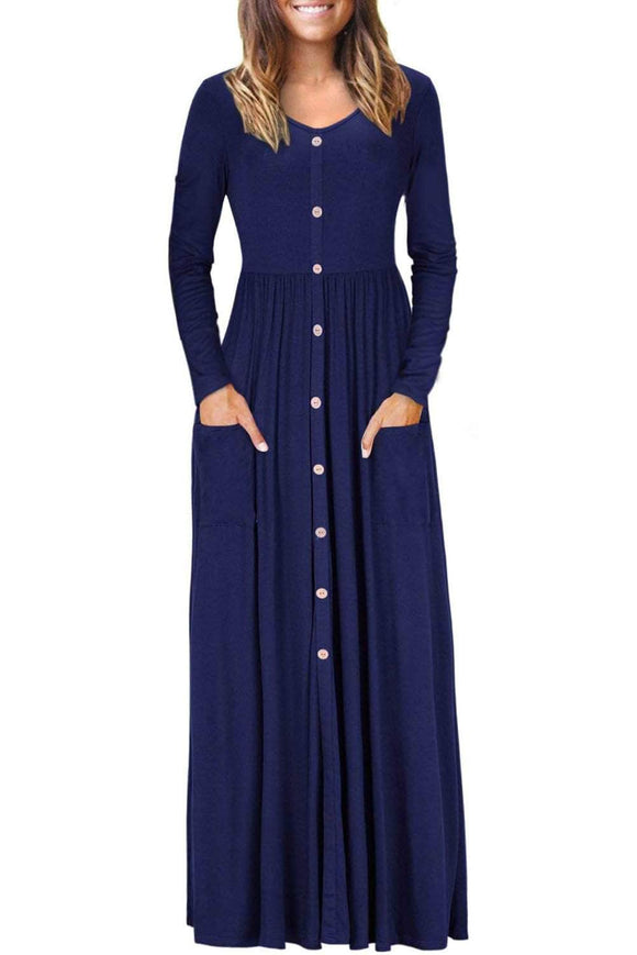 Navy Blue Button Front Pocket Style Casual Long Dress