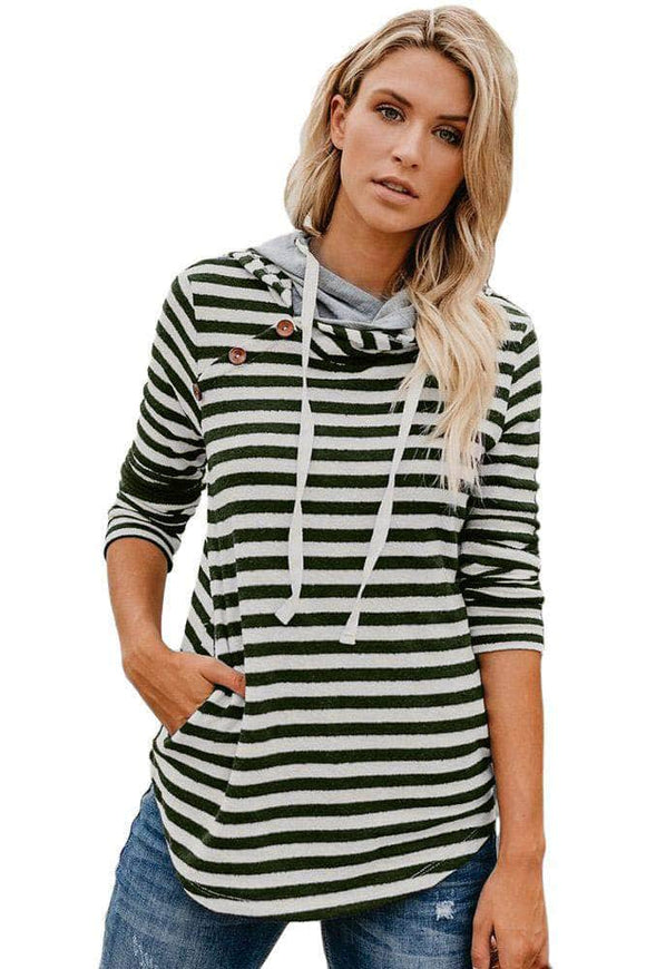 Green Striped Button Detail Hoodie